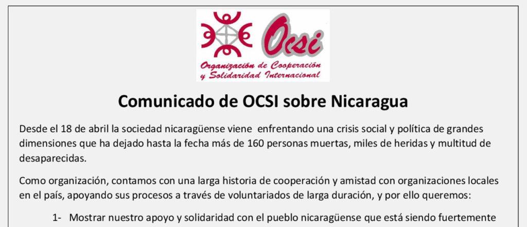 Comunicado de OCSI sobre Nicaragua